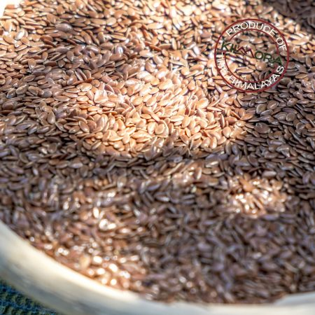 Close up of flaxseed in dappled light a basket
