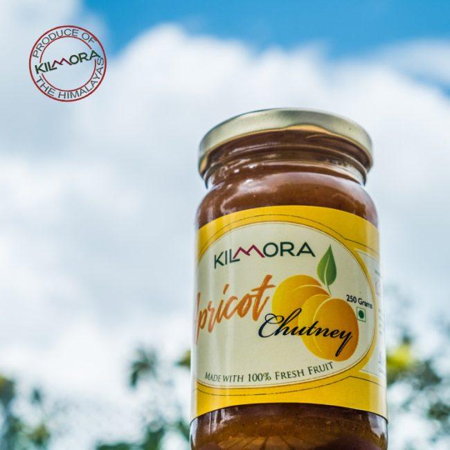 250 gram glass jar of Kilmora's Apricot Chutney