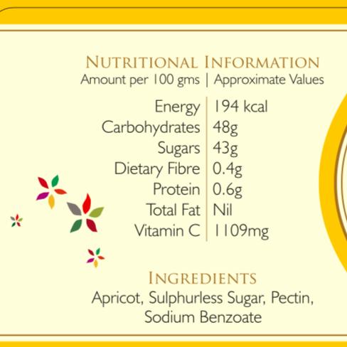Nutritional information for Kilmora Apricot Jam