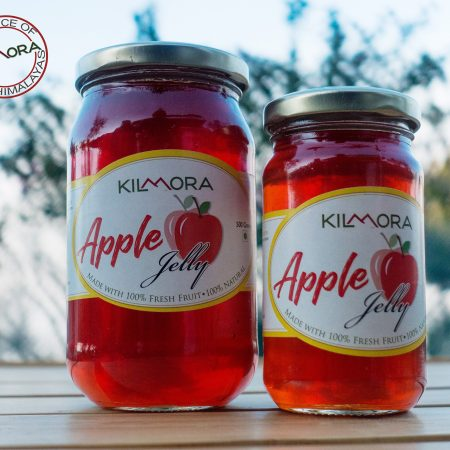 Two glass jars with apple jelly
