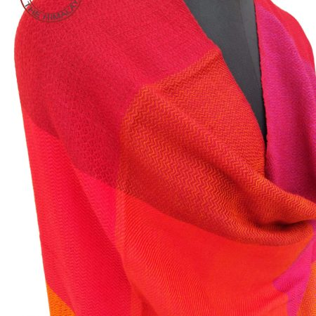 Pure merino wool shawl in vibrant reds